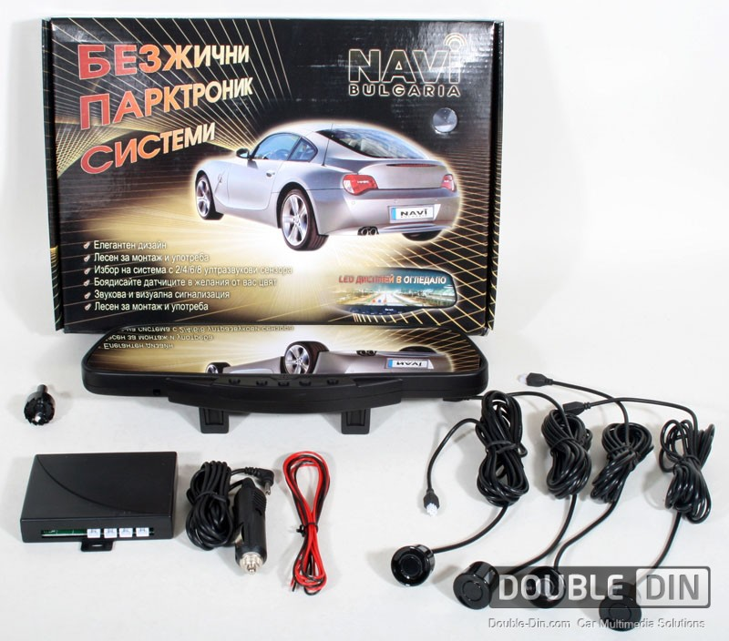 Wireless Parking / Reversing System, Rearview Mirror LED Display 4 or 8 Sensors Kit with Bluetooth Handsfree