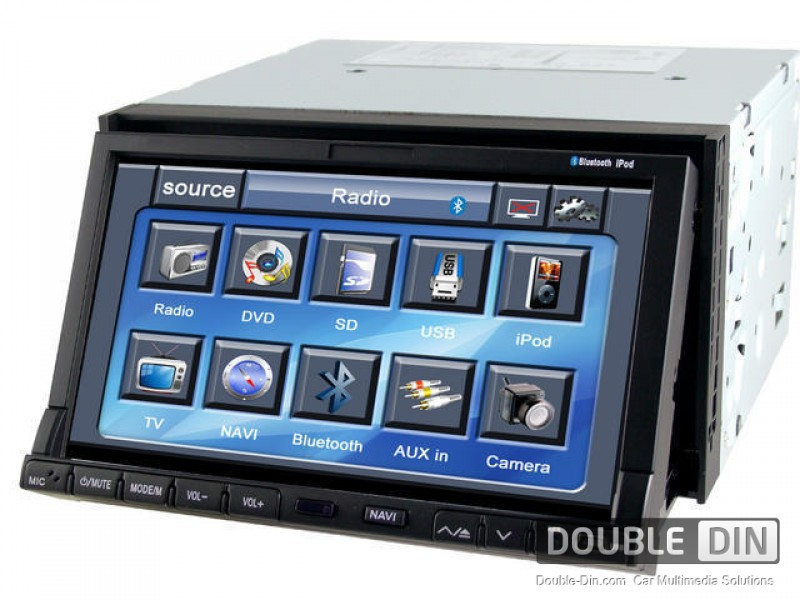 "Universal Multimedia Double Din - DVD, GPS, TV - DVD Player with 7"" Motorized Screen"